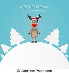 renne, chapeau, arbre noël, blanc, b