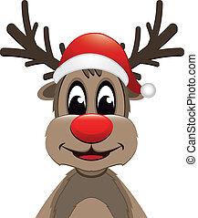 renne, chapeau, nez, santa, rouges