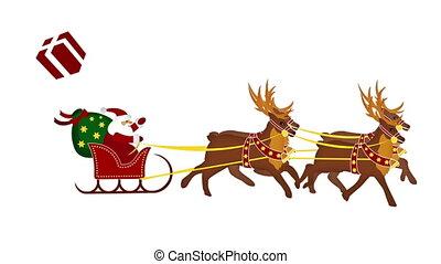 renne, claus, animation, santa