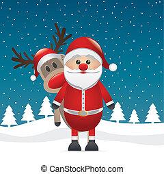 renne, claus, nez, santa, rouges