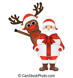 renne, claus, santa, cadeau, dessin animé