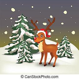 renne, dans, neigeux, paysage, soir