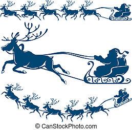 renne, et, santa, claus.