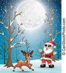 renne, hiver, nuit, santa, noël, claus