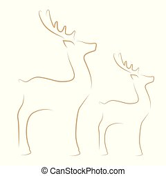 renne, ligne blanche, dessin, fond