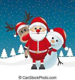 renne, nez rouge, père noël, bonhomme de neige