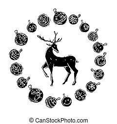 renne, noir, blanc, décorations, noël