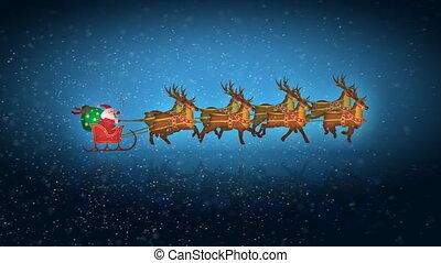 renne, santa, boucle