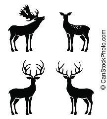 renne, silhouette., collection, antlers., cerf, vecteur, noël, -, ensemble