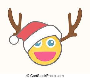 renne, smiley, -, dessin animé, santa