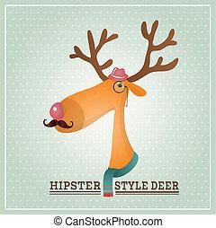 renne, vecteur, hipster, illustration