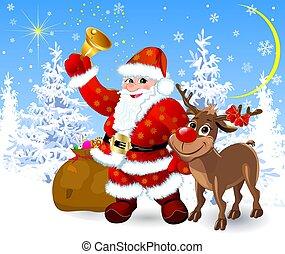 renne, veille, santa, noël