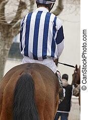 rennen, jockey, bereit, run., pferd, sattelplatz, area.