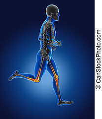 rennende , 3d, medische man