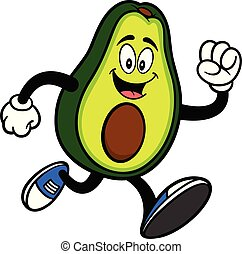 rennende , avocado, mascotte