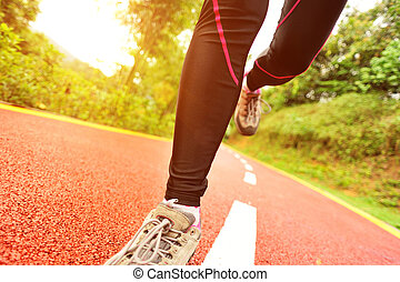 rennende , benen, sporten, spoor