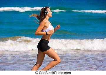 rennende , brunette, strand, meisje, headphones