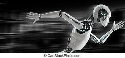 rennende , concept, snelheid, android, robot