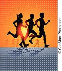 rennende , drie