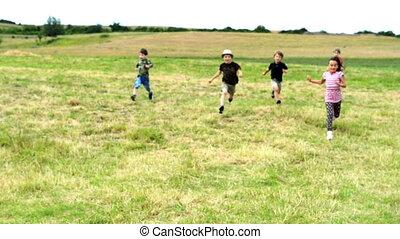 rennende , geitjes, hardloop