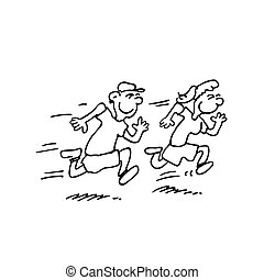 rennende , geitjes, spotprent, illustraties