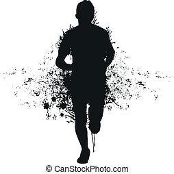 rennende , gespetter, man