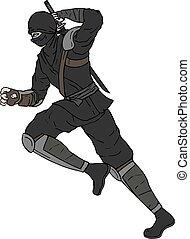 rennende , gevaar, trekken, ninja