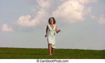 rennende , gras, meisje