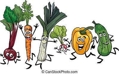 rennende , groentes, illustratie, spotprent
