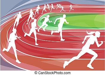 rennende , hardloop, op de voetspoor