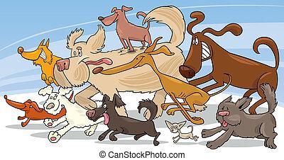 rennende , honden