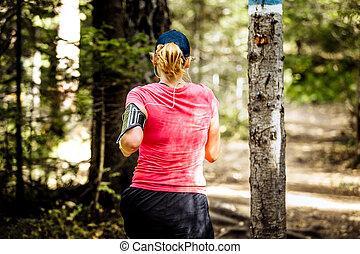 rennende , hout, back, meisje, aanzicht