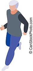 rennende , isometric, stijl, pictogram, man, senior