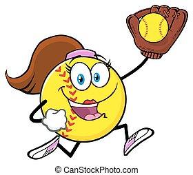 rennende , karakter, girly, softbal