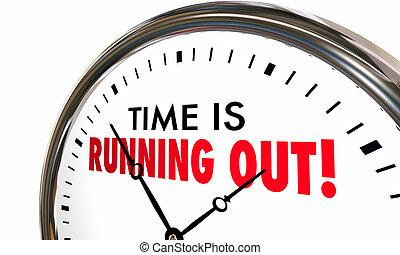 rennende , klok, uitgang, spoedig, tijd, deadline, illustratie, uit, 3d