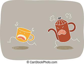 rennende , koffie, opgewonden, pot, kop