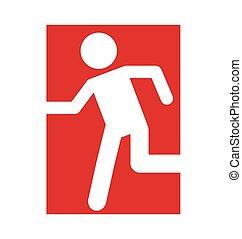 rennende , man, deur, noodgeval, pictogram