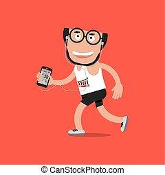 rennende , man, met, sportende, activiteit, tracking, toepassing, vector, illustratie