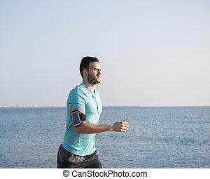 rennende , man, strand, mooi