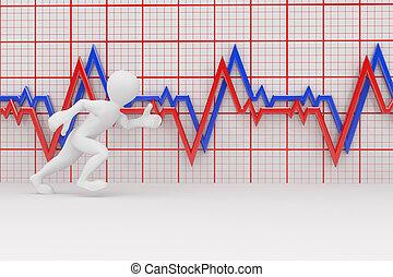 rennende , mannen, en, tabel, heartbeat., 3d