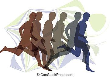 rennende , mannen, illustratie