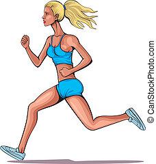 rennende , meisje, jonge