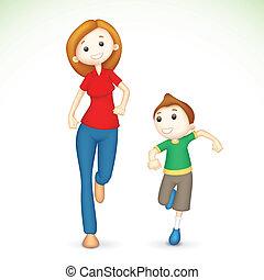 rennende , moeder, 3d, zoon