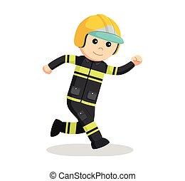 rennende , ontwerp, illustratie, brandweerman