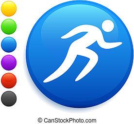 rennende , pictogram, op, ronde, internet, knoop