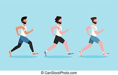 rennende , set, activiteit, oefening, mannen