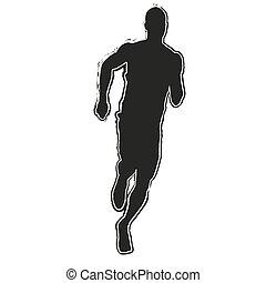 rennende , silhouette., uitvoeren, man