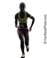 rennende , silhouette, vrouw, loper