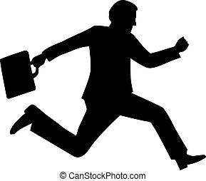 rennende , silhouette, zakenmens