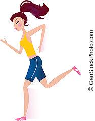 rennende , sportief, vrouw, vrijstaand, op wit